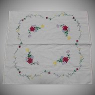 Vintage Ecru Linen Table Cover Cloth Hand Embroidered Flowers Square