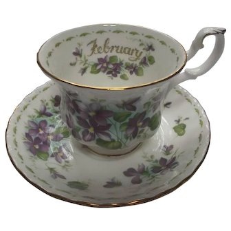 Royal Albert Violets Cup and Saucer Vintage Flower of the Month Series