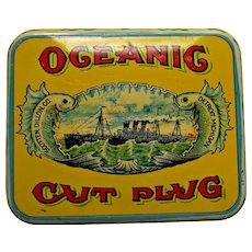 Old Oceanig Cut Plug Tobacco Tin Yellow Red Blue