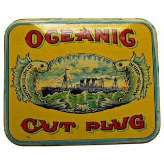 Old Oceanig Cut Plug Tobacco Tin Yellow Red Blue