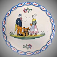 Vintage Faience Earthenware Plate Couple Flowers Pie Crust Edge