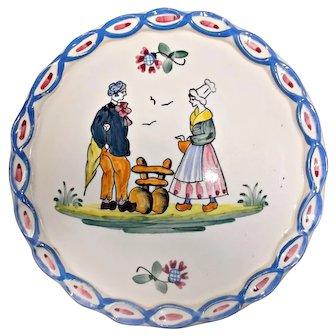 Vintage Faience Earthenware Plate Couple Flowers Pie Crust Edge