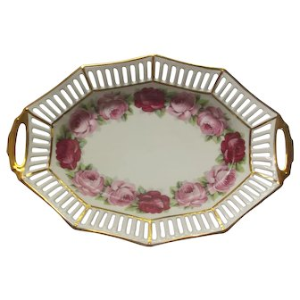Melrose by Schumann Large Oval Reticulated Bowl Pink Roses Gold Trim