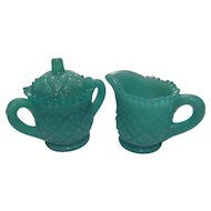 Westmoreland Blue Milk Glass Child's Creamer Sugar Set