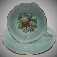 English Bone China Vintage Cup and Saucer set Pale Green with Fruit