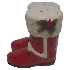 Pair of Santa Claus Boots Vintage Salt Pepper Shakers