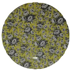Shelley Tapestry Rose Plate Vintage Bone China White Gray Roses on Yellow