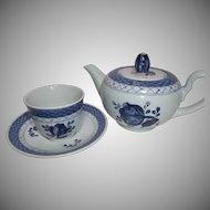 Royal Copenhagen Tranquebar Blue Coupe Tea Pot with Demitasse Cup Saucer