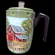 Vintage Folk Art Hand Painted Metal Coffee Pot Signed Red Barn in Country