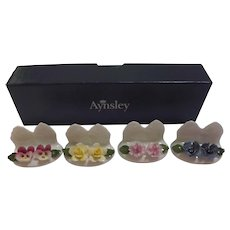 Vintage Aynsley China Floral Place Card Holders Settings
