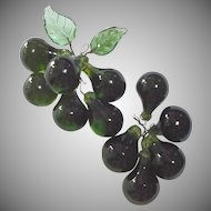 Cluster of Vintage Wired Green Glass Grapes with Glass Leaves