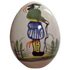 Vintage 1983 Quimper Decorative Porcelain Egg