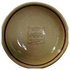 Robinson - Ransbottom Bowl Souvenir of the Pot Shop U. S. A. Tan Brown Stripe