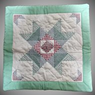 Vintage Handmade and Embroidered Square Doll Quilt