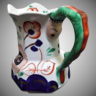 Crown Staffordshire Snake Handled Creamer Jug Early 1900's Blue Gold Green Rust