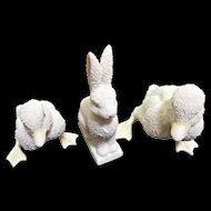Department 56 Vintage Snow Bunny Rabbit and Two Ducks Easter Display