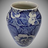 Vintage Victorian Chintz Burleigh Staffordshire Vase Blue and White Rose