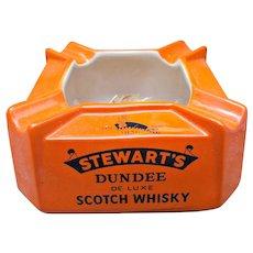 Stewart's Vintage Dundee Scotch Whisky Advertisement Ashtray Orange Black