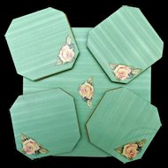 Oil Cloth Center Table Mat and Four Coasters Vintage 1950's Rose Decal