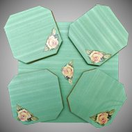 Oil Cloth with Rose Decal Center Table Mat and Four Coasters 1950's