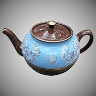 Vintage Sadler Tea Pot Brown with White Roman Figures on Pale Blue Gold Trim