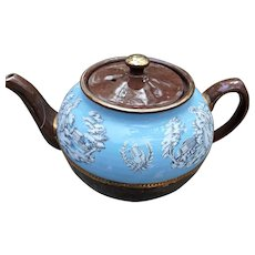 Vintage Sadler Tea Pot Brown with White Roman Figures on Pale Blue Gold Trim