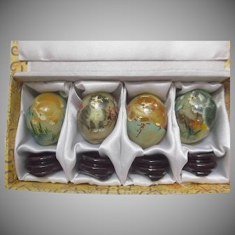 Hand Painted Cats on Gemstone Eggs from the Smithsonian Catalogue