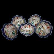Five Vintage Geisha Girl Three Toed Nut Cups Cobalt White Gold Porcelain