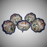 Five Vintage Geisha Girl Three Toed Nut Cups Cobalt White Gold Porcelain