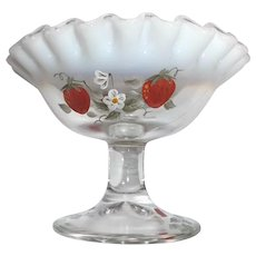 Fenton Opalescent Glass Compote Hand Painted Strawberries Signed Vintage