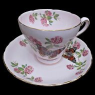 Vintage Tuscan England Pale Pink Cup Saucer June Glory Flowers Butterfly