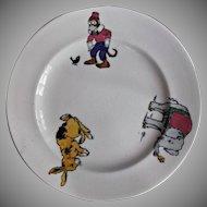 Booth's Silicon China English Children's Plate Circa mid 1940's Monkey Elephant Rabbit