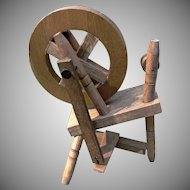 Small Vintage Spinning Wheel for Dolls Doll House Wood