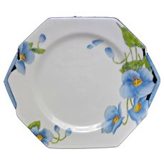 Rare Vintage 1930's Paragon Blue Iceland Poppy Cake Plate Hand Painted Art Deco Style