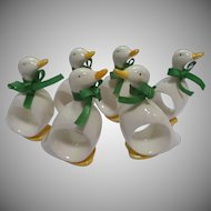 Vintage Ceramic Duck Napkin Rings Six with Green Ribbons