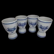 Blue Rose Double Egg Cups 4 by Arabia Finland Pottery