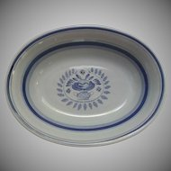 Vintage Blue Rose Arabia Finland Pottery Oval Vegetable Dish Hand Painted