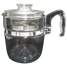 Vintage Pyrex 9 Cup Glass Coffee Maker Percolator