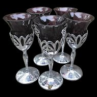 Farber Brothers Vintage 3 ounce Cocktail Stems Cambridge Amethyst Glass Inserts Five