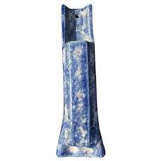 Vintage Pottery Wall Pocket Blue Sponge Ware