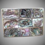 Vintage Alpaca Metal Mexico Belt Buckle with Abalone Front
