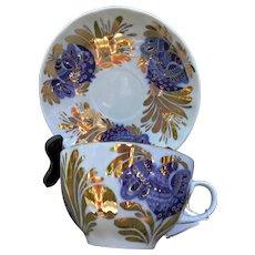 Lomonosov USSR Cup and Saucer in Golden Garden Pattern Blue Birds Gold Trim
