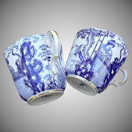 Royal Crown Derby Blue Mikado Over Sized Pair of Cups Green Mark
