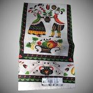 Vintage Parisian Printed Pure Linen Towel Unused Green Red Black Ecru Yellow
