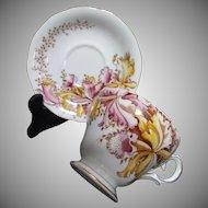 Bell Fine Bone China Vintage Cup Saucer Set Orchids