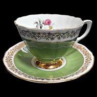 Vintage Royal Adderley English China Cup Saucer Green Ribbed Gold Floral Trim Pink Rose