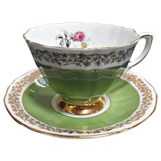 Vintage Royal Adderley English China Cup Saucer Green Ribbed Gold Floral Trim Pink Rose