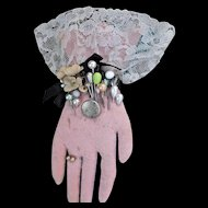 Victorian Style Hand Crafted Felt Lace Pin Cushion with Pins Pink Turquoise