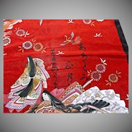 Vintage Scarf Geisha Girls Birds Flowers Pure Silk Japan
