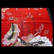 Vintage Scarf Geisha Girls Birds Flowers Pure Silk Japan